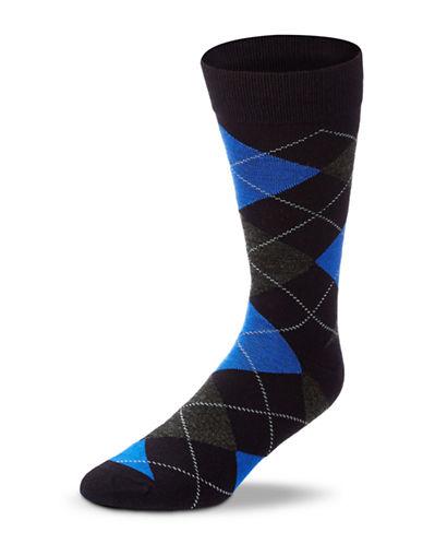 Black Brown 1826 Wool Blend Argyle Socks-NAVY-7-12