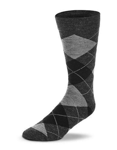 Black Brown 1826 Wool Blend Argyle Socks-BROWN-7-12