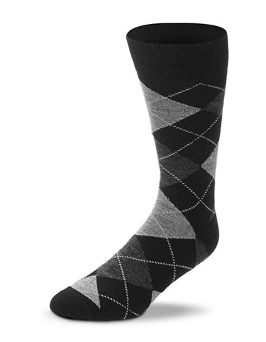 Black Brown 1826 Wool Blend Argyle Socks-BLACK/GREY-7-12