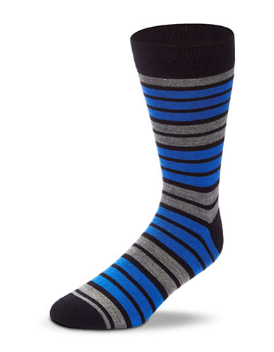Black Brown 1826 Wool Blend Striped Socks-NAVY-7-12