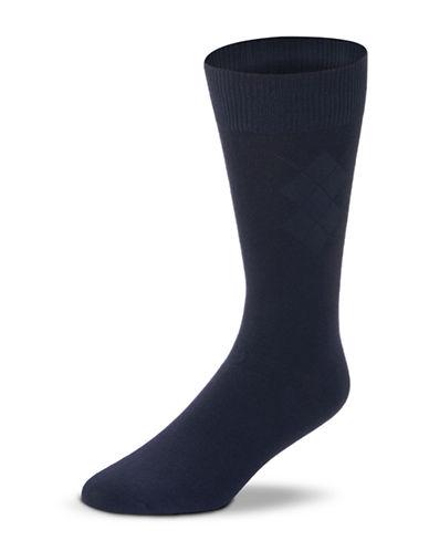 Black Brown 1826 Bamboo Blend Argyle Socks-NAVY-7-12