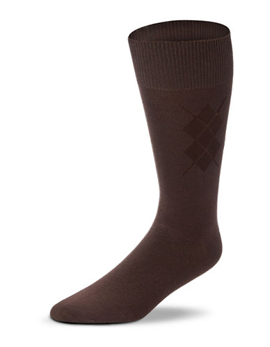 Black Brown 1826 Bamboo Blend Argyle Socks-BROWN-7-12