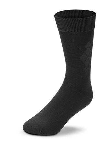 Black Brown 1826 Microfibre Argyle Socks-CHARCOAL-7-12