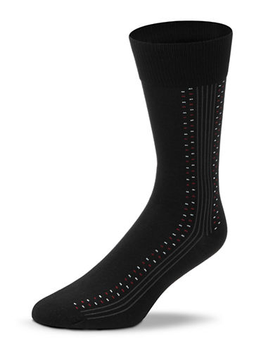 Black Brown 1826 Dotted Lines Microfibre Socks-BLACK-7-12