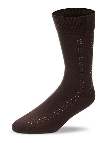 Black Brown 1826 Dotted Lines Microfibre Socks-BROWN-7-12
