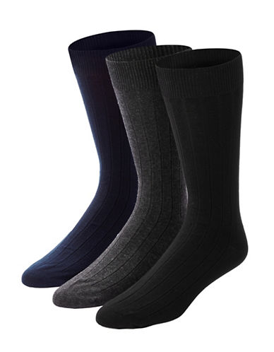 Black Brown 1826 Mens Three-Pack Ribbed Combed Cotton Socks-BLACK-7-12