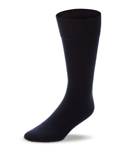 Black Brown 1826 3-Pack Combed Cotton Socks-NAVY-7-12