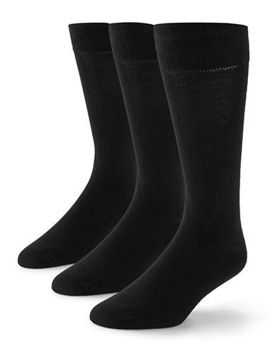 Black Brown 1826 3-Pack Bamboo Cotton Socks-BLACK-7-12