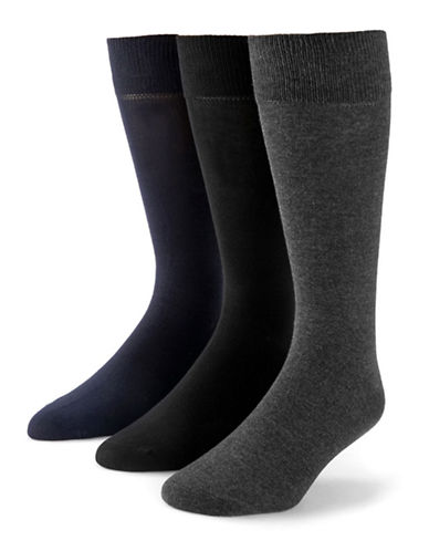 Black Brown 1826 3-Pack Bamboo Cotton Socks-OXFORD-7-12