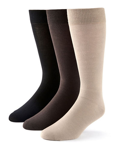 Black Brown 1826 3-Pack Bamboo Cotton Socks-BROWN-7-12