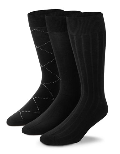 Black Brown 1826 3-Pack Fancy Bamboo Cotton Socks-BLACK-7-12