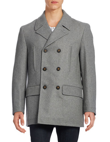 Lauren Ralph Lauren Wool-Blend Double-Breasted Overcoat-GREY-44 Regular