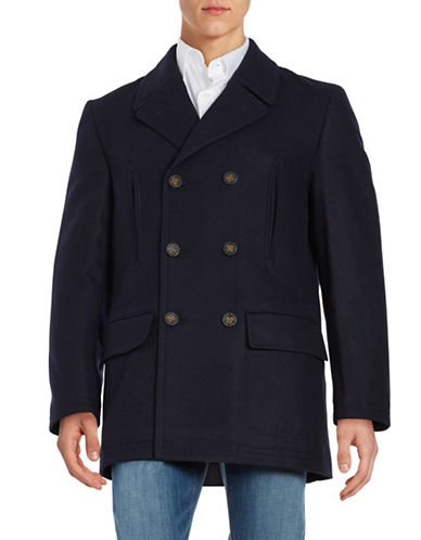 Lauren Ralph Lauren Double-Breasted Wool-Blend Coat-BLUE-42 Tall