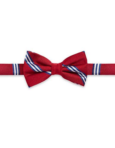 Lauren Ralph Lauren Striped Silk Bow Tie-RED-One Size