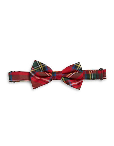 Lauren Ralph Lauren Silk Plaid Clip-On Bow Tie-RED-One Size
