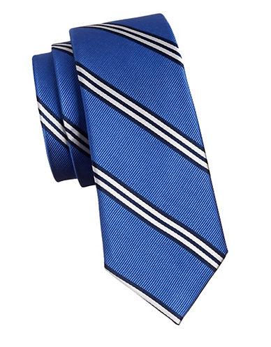 Lauren Ralph Lauren Diagonal Striped Silk Tie-RED-One Size