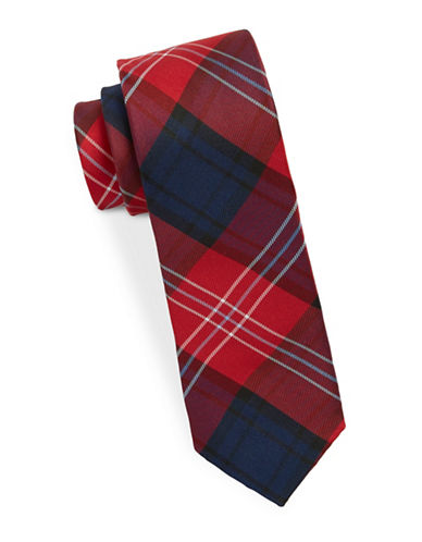 Lauren Ralph Lauren Silk Plaid Tie-RED-One Size
