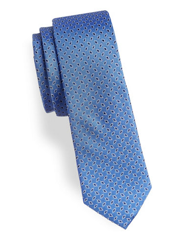 Lauren Ralph Lauren Diamond Silk Tie-BLUE-One Size