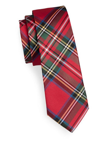 Lauren Ralph Lauren Tartan Slim Silk Tie-RED-One Size