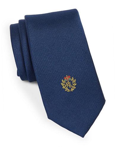 Lauren Ralph Lauren Silk Ribbed Logo Crest Tie-NAVY-One Size