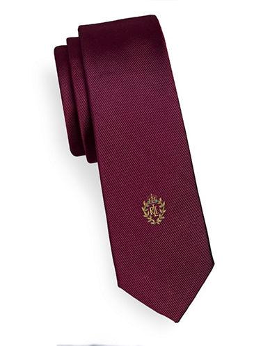 Lauren Ralph Lauren Slim Crest Silk Tie-RED-One Size