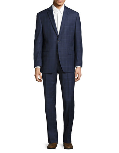 Michael Michael Kors Slim-Fit Windowpane Check Wool Suit-BLUE-48 Tall