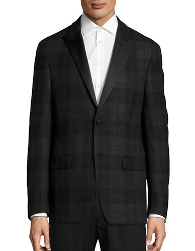 Lauren Ralph Lauren Plaid Wool Sports Jacket-CHARCOAL-40 Regular