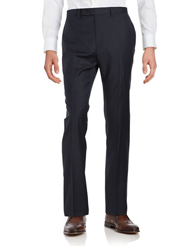 Lauren Ralph Lauren Wool Herringbone Dress Pants-NAVY-30X32 88473721_NAVY_30X32