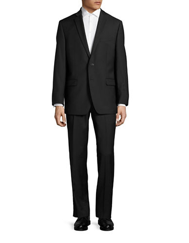 Calvin Klein Sharkskin Wool Suit-GREY-40 Regular