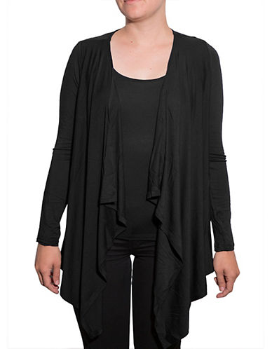 Amour Vert Angled Front Cardigan-BLACK-Medium