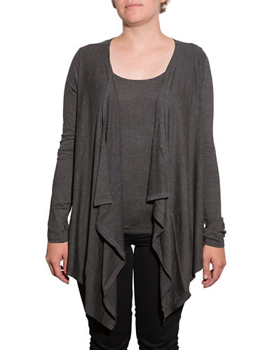 Amour Vert Angled Front Cardigan-ANTHRACITE-Medium