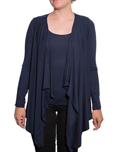 Amour Vert Angled Front Cardigan-NAVY-Medium