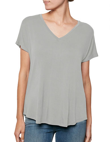 Amour Vert V-Neck Tee-HEATHER GREY-X-Small