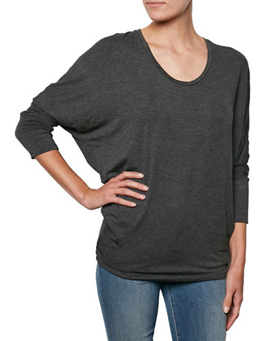 Amour Vert Scoop Neck Dolman Tee-ANTHRACITE-One Size