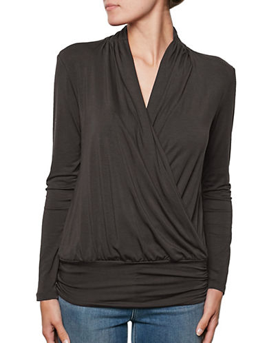 Amour Vert Wrap Front Tee with Fitted Hem-ANTHRACITE-Small