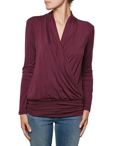 Amour Vert Wrap Front Tee with Fitted Hem-PLUM-Small