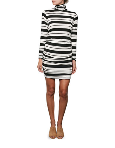 Amour Vert Striped Side-Ruched Turtleneck Dress-BRUSSE-Large