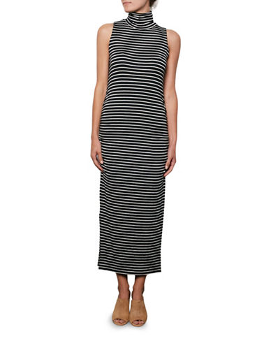 Amour Vert Sleeveless Side-Ruched Turtleneck Dress-STRIPE-Large