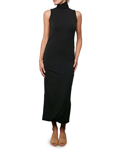 Amour Vert Sleeveless Side-Ruched Turtleneck Dress-BLACK-X-Small