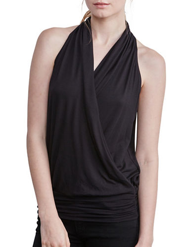 Amour Vert Halter Wrap Tank with Fitted Hem-BLACK-Medium