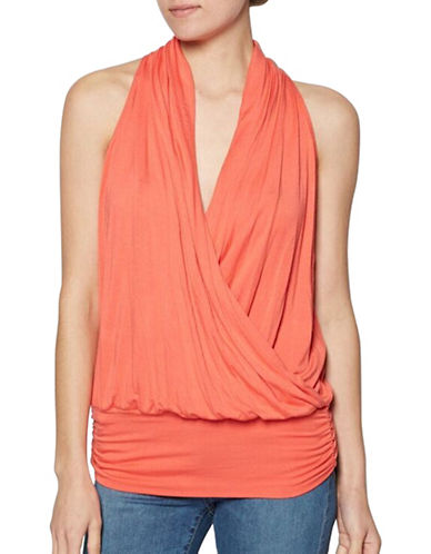 Amour Vert Halter Wrap Tank with Fitted Hem-ORANGE-Small
