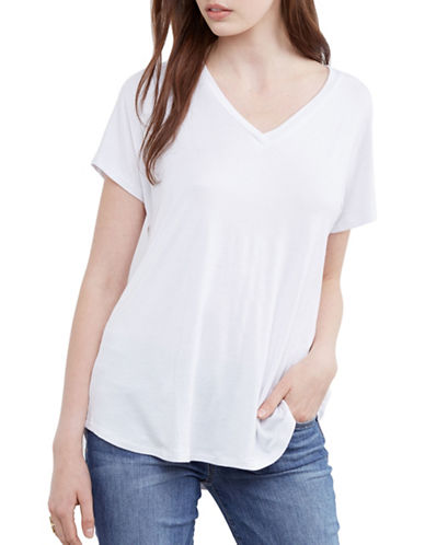 Amour Vert V-Neck Tee-WHITE-X-Small