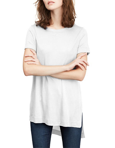 Amour Vert High-Low Side Slit Tee-WHITE-X-Small