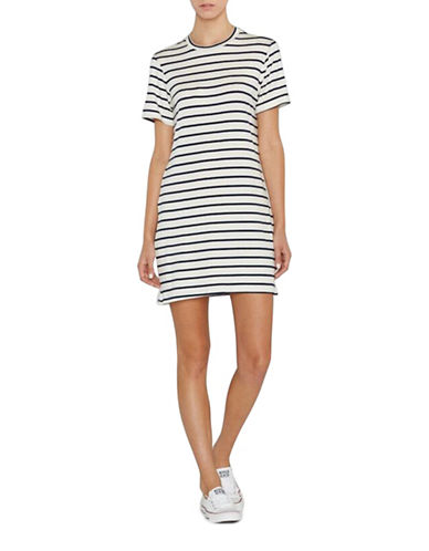 Amour Vert Striped T-Shirt Dress-MARINE-Large