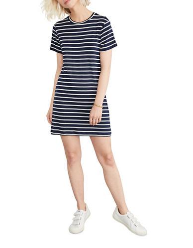 Amour Vert Striped T-Shirt Dress-BLUE-Small