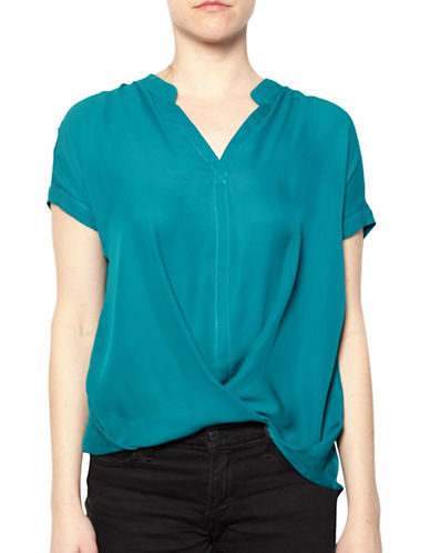 Amour Vert Draped Silk Blouse-BLUE-Small