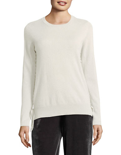 Kokun Tie Side Cashmere Sweater-WHITE-Large