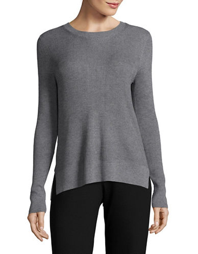 Kokun Bamboo-Cashmere Zip Back Crew Neck Sweater-GREY-Large