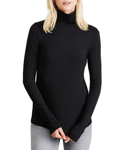 Amour Vert Striped Turtleneck Top-BLACK-X-Small