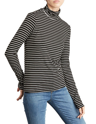 Amour Vert Striped Turtleneck Top-BLACK MULTI-Large